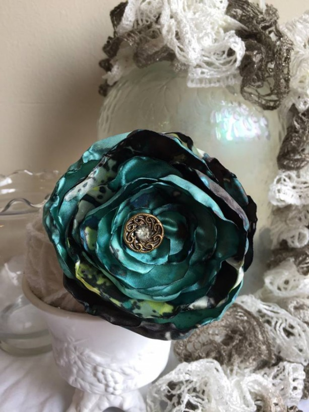 Satin Shabby Chic Floral Brooch