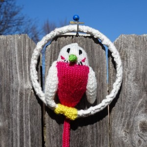 Parakeet on the Hook, Stuffed Budgie, Hand Knitted Bird, Home Decor, Plush Budgie