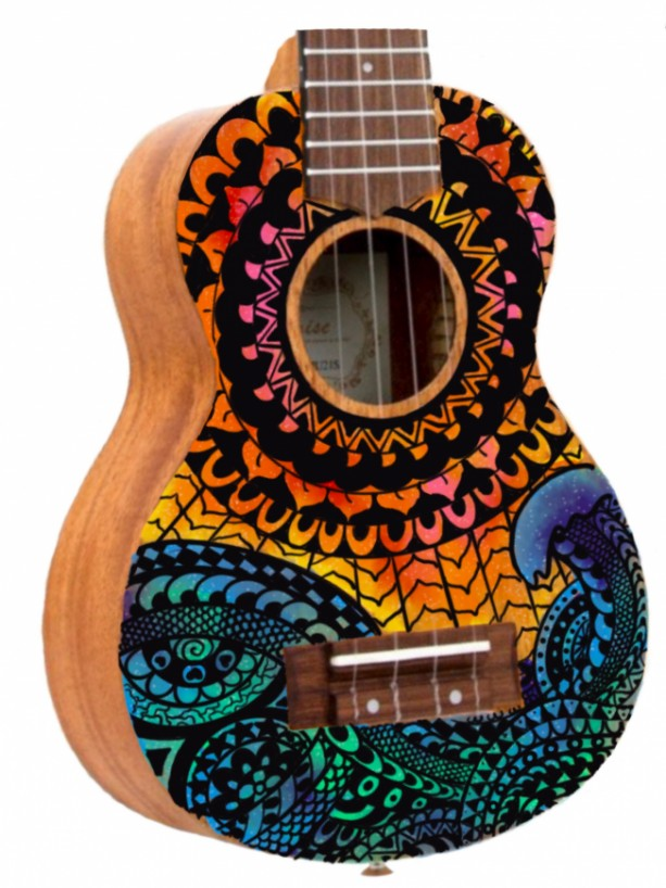 Soprano Galaxy Mandala Ocean Sun Ukulele, Hand Painted Ukulele, Decorated Ukulele, Galaxy Paint, instrument, ukelele, concert, tenor, barito