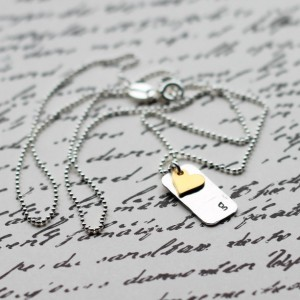 Hand Stamped Sterling Silver Gold Heart Initial Necklace