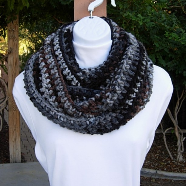 Long Soft Women's or Men's Infinity Scarf, Black, Gray, Brown & Off White Striped Crochet Knit Warm Winter Loop Cowl, Ready to Ship in 3 Days