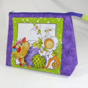 "Loralie Designs Purple ""Happy Cat""  Cosmetic Bag, Bridesmaid Gift, Holiday Gift, Toiletry Bag, Pencil Case, Travel Bag"