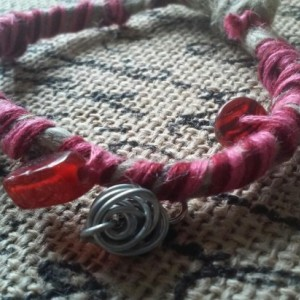 Wrapped Pink Rose Hemp Bracelet with Wire Rose