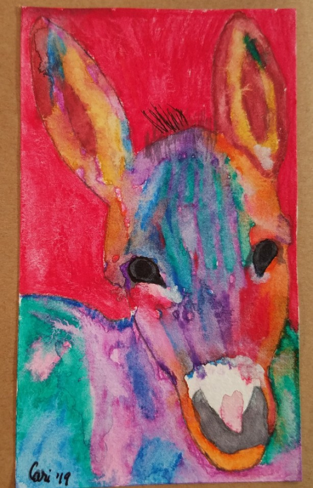 Hand-painted Donkey Blank Notecards, 5-Pack
