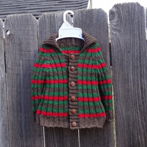 Hand Knit Baby Sweater, Wool Multicolored Striped Cardigan, Machine Washable Baby Sweater, All Handmade, Ready to Ship, Gift for Baby Shower