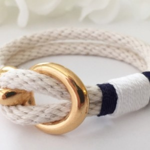 Natural White Rope Gold Open Hook Clasp Bracelet - Navy/White