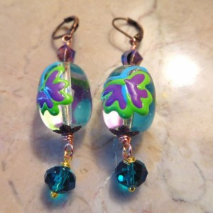 Butterfly lamp work glass beads Necklace and matching earrings set.#NBES0100