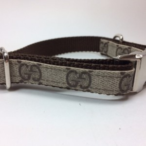 Gucci Dog Collar, Upcycled, Recycled, Repurposed, Metal clasp, Plastic Clasp, Navy Monogram Available, Designer Upcycled