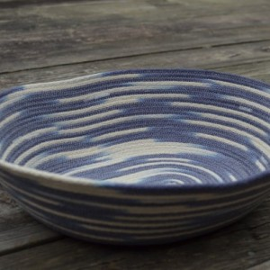extra large coiled rope basket, variegated natural white & blue
