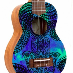 Soprano Galaxy Hamsa Ukulele, Hand Painted Ukulele, Decorated Ukulele, Galaxy Paint, instrument, ukelele, concert, tenor, baritone, guitar