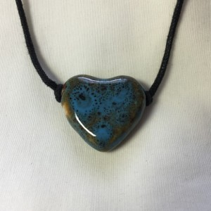 Ceramic Puffed Heart Necklace - Blues