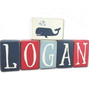 Nautical baby name sign blocks stacking wood blocks handpainted wood sign blocks primitive rustic country home decore personalized custom