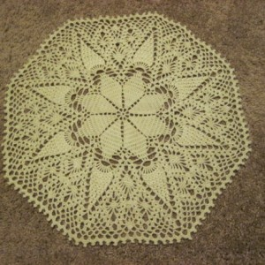 Sale! Handcrocheted Original Design White Pineapple Star Doily Centerpiece Placemat