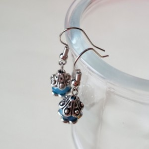 Handmade Blue Glass Luster Bead Earrings with Silver Accents