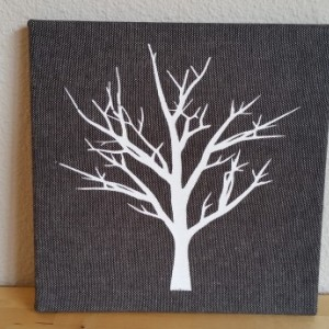 Screenprinted white tree on black and white textured fabric canvas wall art - authentic handmade - Black and White