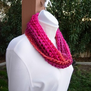 Women's Small Colorful INFINITY SCARF Loop Cowl, Hot Pink, Bright Orange, Plum Striped Soft Short Crochet Knit, Office Scarf, Chemo Scarf, Ready to Ship in 3 Days