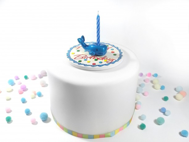 Blue Whale Birthday Candle Holder Cake Topper