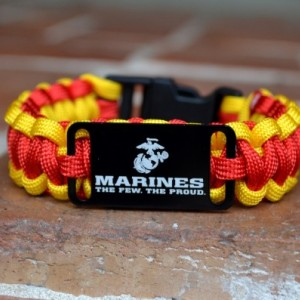 US Marines Red and Gold Paracord Bracelet w/ Black Plastic Buckle