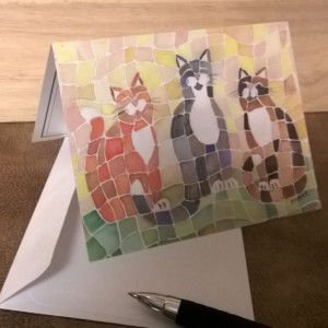 Smiling Abstract Cats Note Cards-Handmade Notecard- Cat Notecard-Cat Notecards-Cat Card-Cat Cards- orange cat-Calico cat-cat art stationery