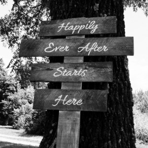 "Wedding signage/directionals ""Happily ever starts here"""