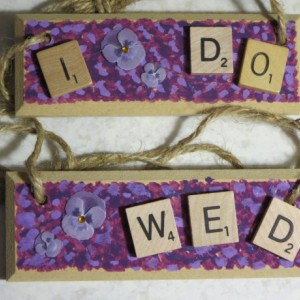 Set of 2 Scrabble® Game Tile Wooden Plaques I Do & Wed Purple