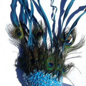 Peacock Feather Mask Handmade With Clear Rhinestones Blue and Gold 7x26