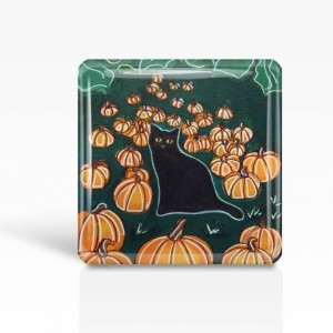 """Halloween Black Cat with Pumpkins - Glass MAGNET By Artist A.V.Apostle- 2""""x 2"""""""