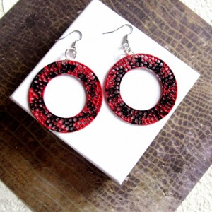 Big Hoop Earrings, Circle Earrings, Round Earrings, Disc Earrings, Statement Earrings, Red and Black Earrings, Urban Jewelry, Large Hoops