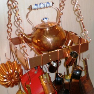 12 Inch SQUARE Hanging Solid Copper Pot Rack with 16 hooks and 48 inches of copper chain FREE U S Shipping