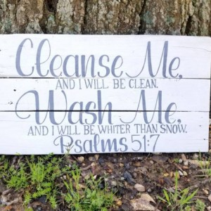 Cleanse me and I will be clean wash me and I will be whiter than snow psalms 51 7, bathroom home decor, Christian home sign, bible verse