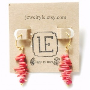 Natural Red Coral Bar Earrings, Red Coral Earrings, Red Coral Path