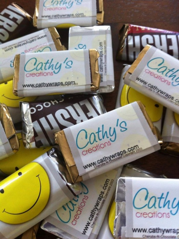 Edible Business Cards - Personalized Hershey Miniatures wrapped with your logo and business info - Pack of 40