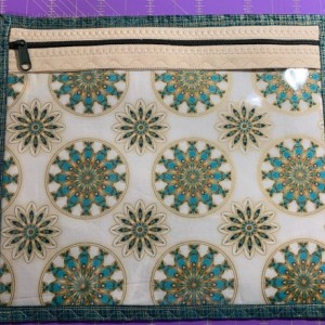Cross Stitch/Embroidery Vinyl Project bag - Teal, Green, Gold & Beige Medallions by R. Kaufman