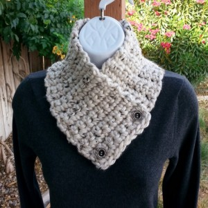NECK WARMER SCARF, Small Crochet Knit Buttoned Cowl with Buttons, Off White Tweed with Black & Tan, Extra Soft 100% Acrylic..Ready to Ship in 3 Days