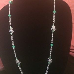 """18"""" Green Turtles Glass Beaded Necklace Lanyard ID Badge Clip"""