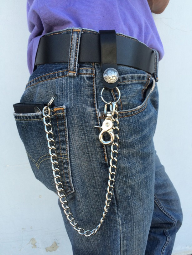 Made in USA 24 inch Heavy Duty Biker Chain with Leather Belt Loop