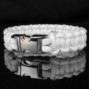 White Designer Unisex Braided Survival Mil-Spec Type III 550 Parachute Cord with Full Metal Alloy Quick Detach Buckle (Chrome)