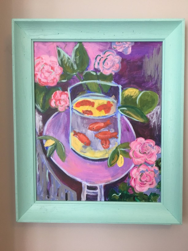 Goldfish and Peonies after Matisse original acrylic painting on canvas-free shipping