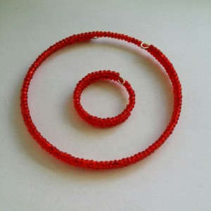Red Seed Bead Bracelet and Ring Set