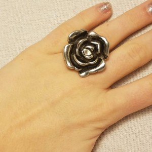 Large Silver Flower Ring