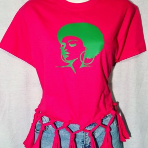 Afro Lady Afrocentric Fringed T-Shirt