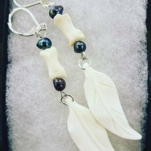Carved bone and pearl earrings