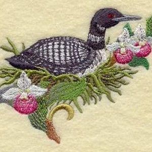 6 piece Set BATH towels Embroidered -  Minnesota Common Loon and Showy Lady Slipper Medley