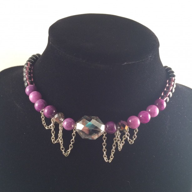 Purple & silver choker