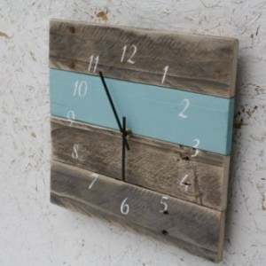 Modern.  Pallet Wood.  Repurposed.  Recycled.  Reclaimed Wood Wall Clock.  Sky blue.  Nautical numbers.  Great Gift.  Beach house.