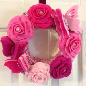 Handmade Pink Butterfly and Rose Wreath