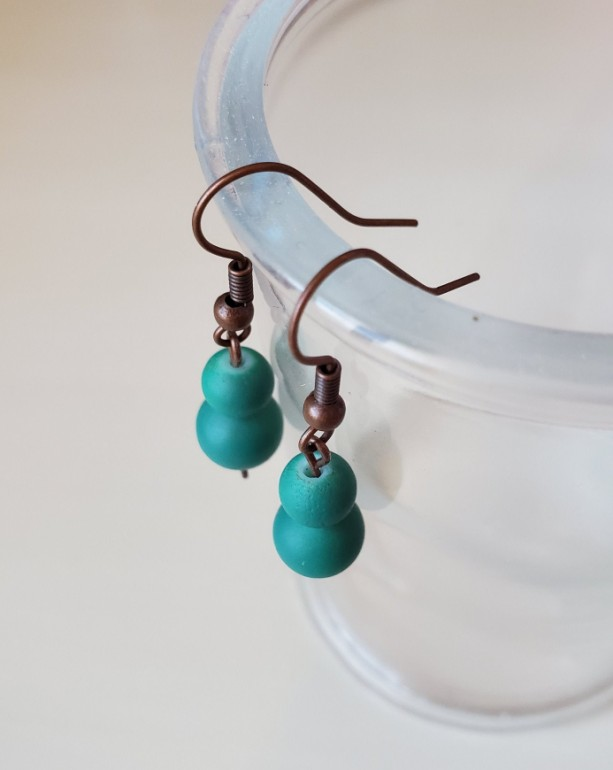 Handmade Teal, Blue Dangle Drop Earrings