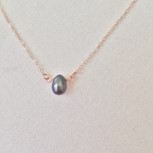 Small Black Pearl Necklace with Choice of 14k Rose Gold Filled Necklace Length of 16 or 18