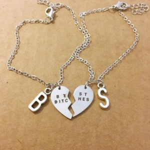 Two Best bitches personalized letter bracelets