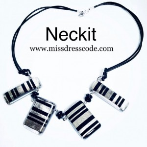 Black and Metallic Silver Stripes Print Fabric in Resin Statement Jewelry Set